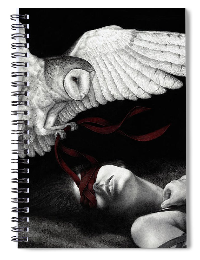 Woman Spiral Notebook featuring the painting On Silent Wings by Pat Erickson