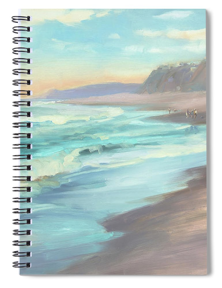 Ocean Spiral Notebook featuring the painting On The Beach by Steve Henderson