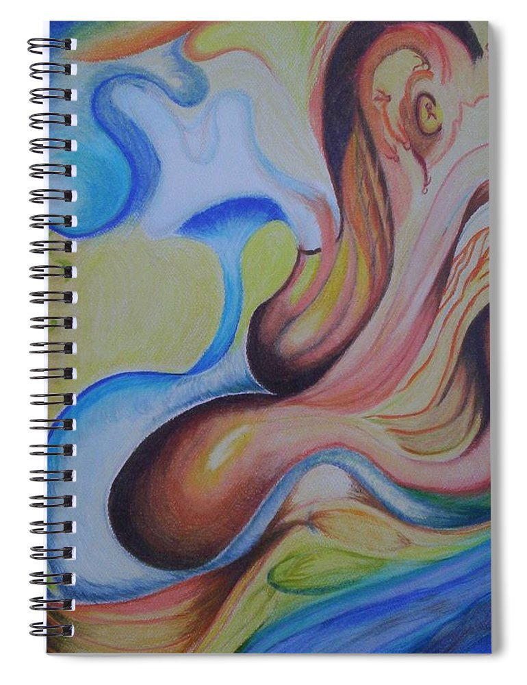 Abstract Spiral Notebook featuring the painting On the Island by Suzanne Udell Levinger