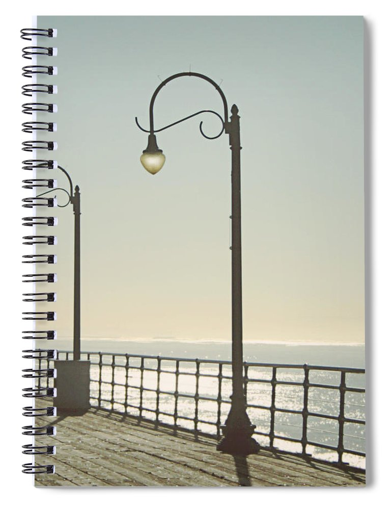 Ocean Spiral Notebook featuring the photograph On The Pier by Linda Woods