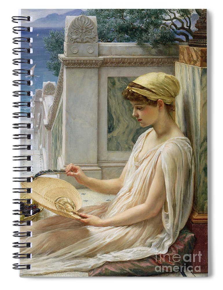 On The Terrace Spiral Notebook featuring the painting On The Terrace by Sir Edward John Poynter