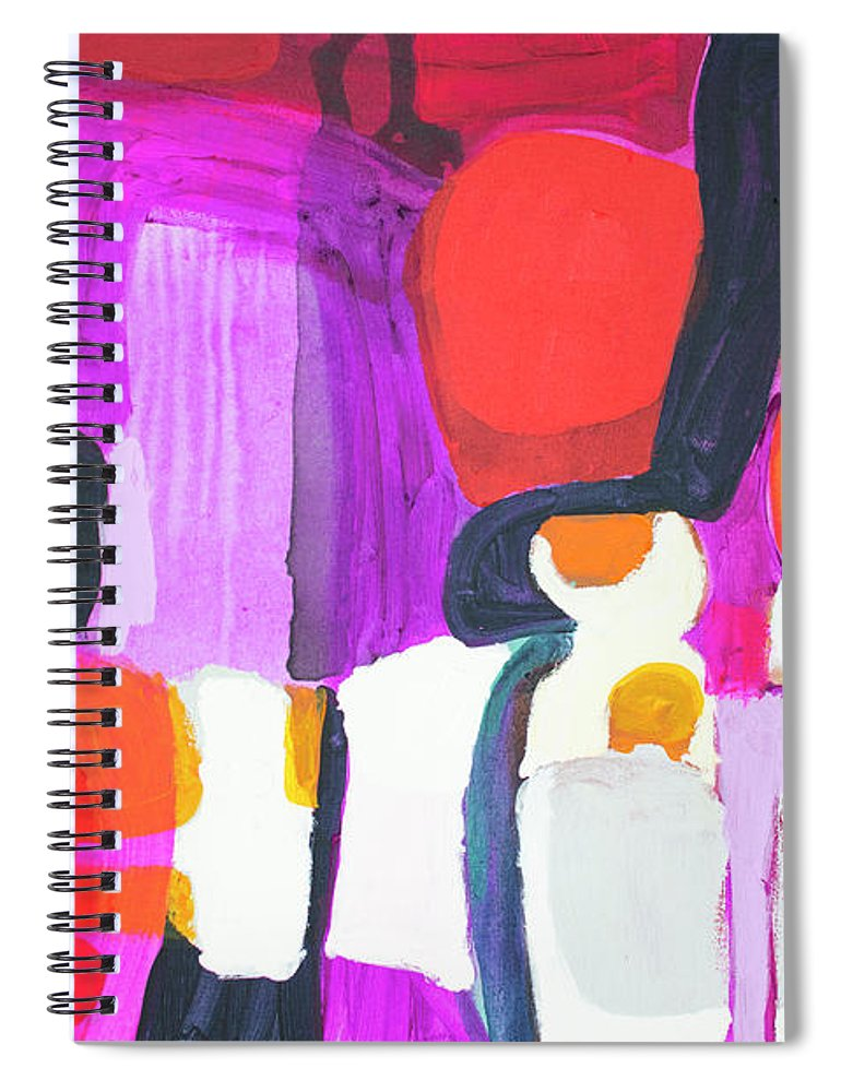 Abstract Spiral Notebook featuring the painting On Time by Claire Desjardins