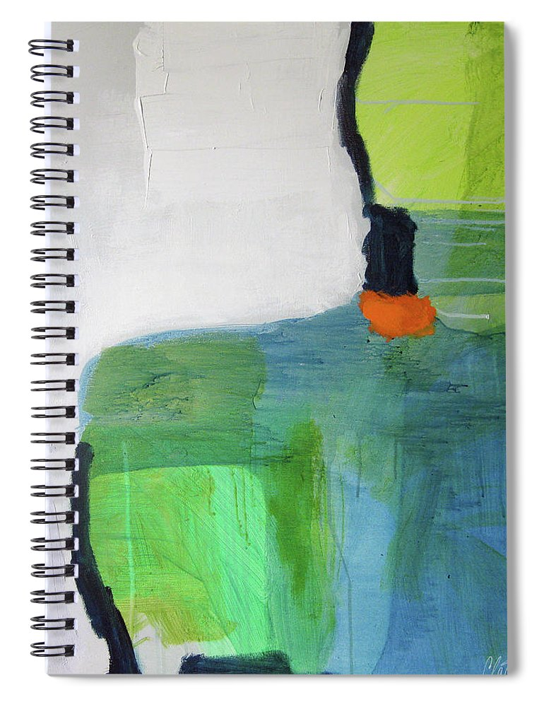 Abstract Spiral Notebook featuring the painting One Day I Was Dreaming by Claire Desjardins