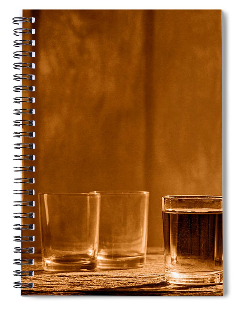 Whiskey Spiral Notebook featuring the photograph One More Drink - Sepia by Olivier Le Queinec