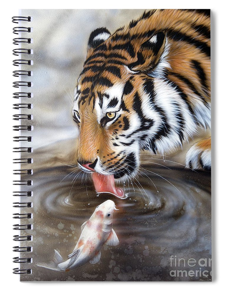 Sandi Baker Spiral Notebook featuring the painting One More Kiss by Sandi Baker