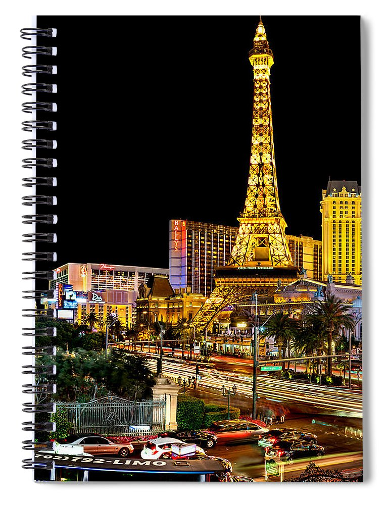 Las Vegas Spiral Notebook featuring the photograph One Night In Vegas by Az Jackson