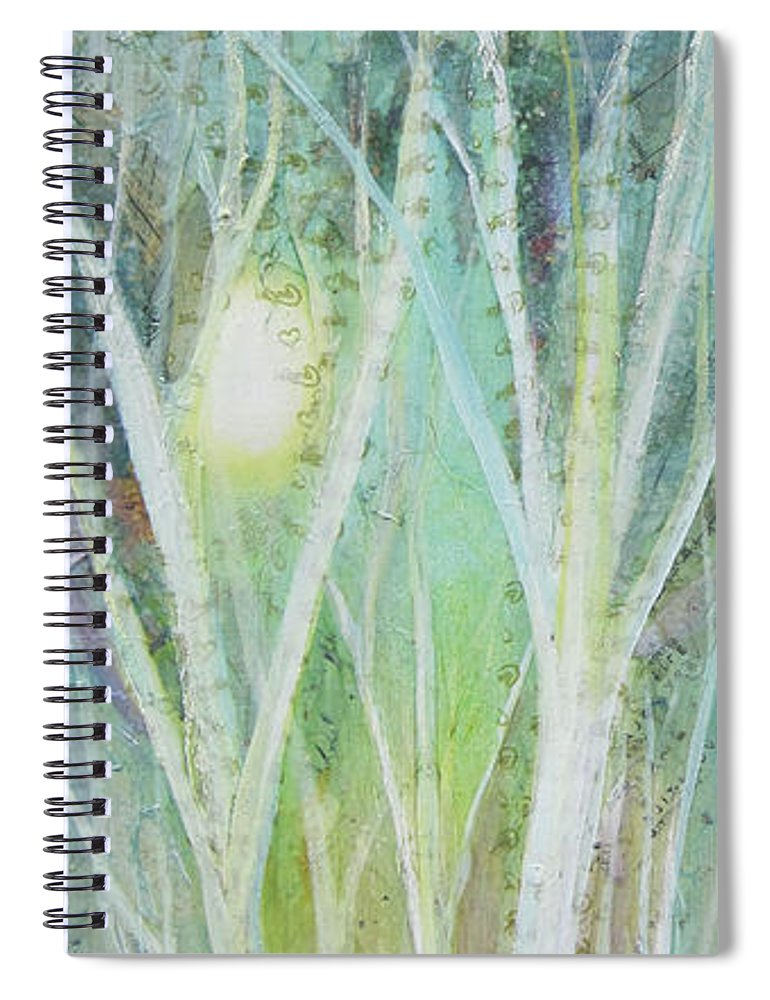 Trees Spiral Notebook featuring the painting Opalescent Twilight I by Shadia Derbyshire