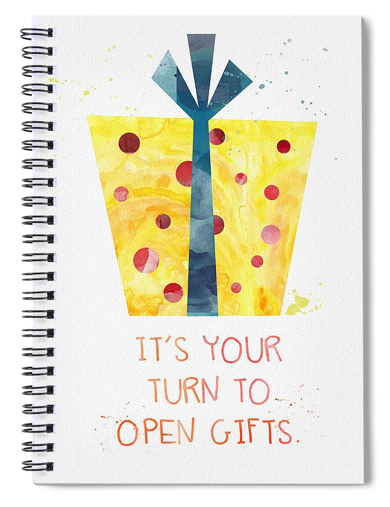 Birthday Spiral Notebook featuring the mixed media Open Gifts- Card by Linda Woods