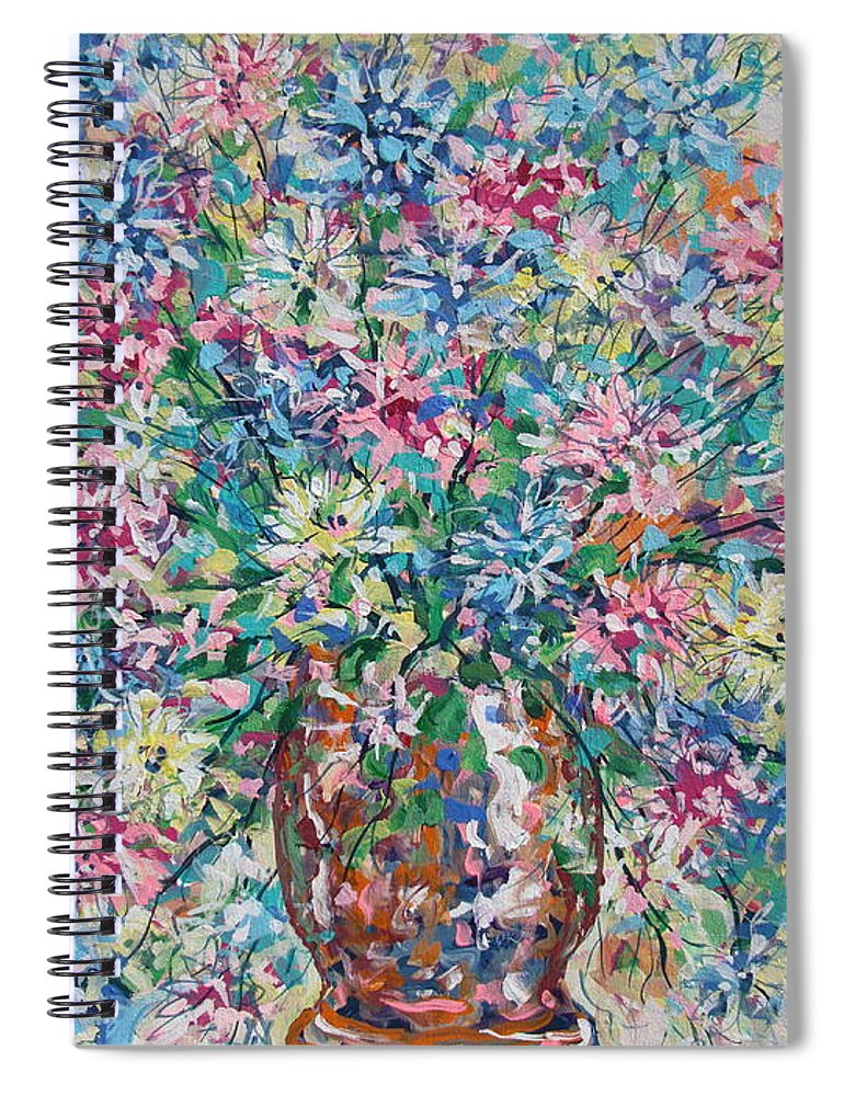 Painting Spiral Notebook featuring the painting Opulent Bouquet. by Leonard Holland