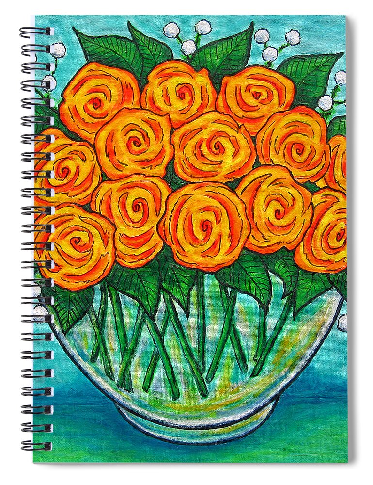 Orange Spiral Notebook featuring the painting Orange Passion by Lisa Lorenz