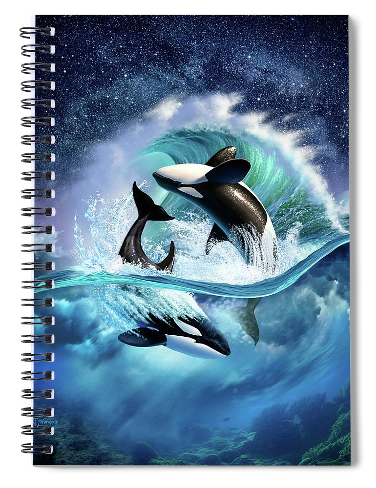 Orca Spiral Notebook featuring the digital art Orca Wave by Jerry LoFaro