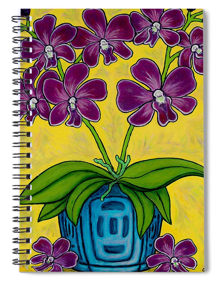Orchids Spiral Notebook featuring the painting Orchid Delight by Lisa Lorenz