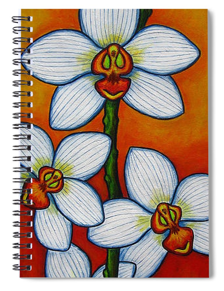Orchids Spiral Notebook featuring the painting Orchid Oasis by Lisa Lorenz