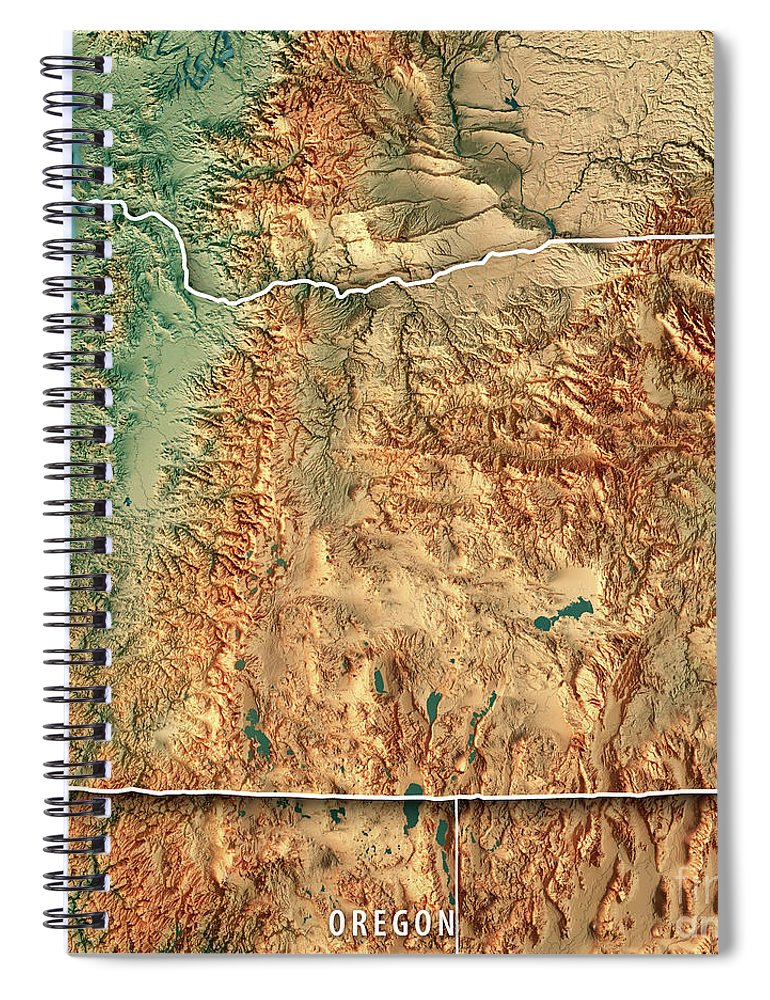Oregon State Usa 3d Render Topographic Map Border Spiral Notebook