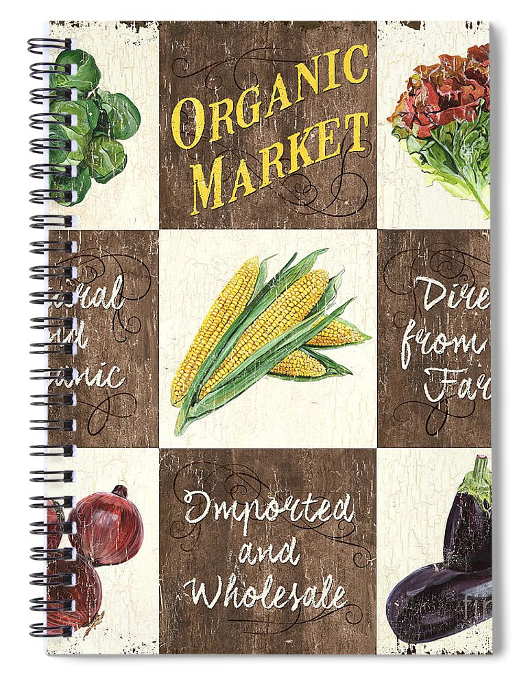 Organic Spiral Notebook featuring the painting Organic Market Patch by Debbie DeWitt