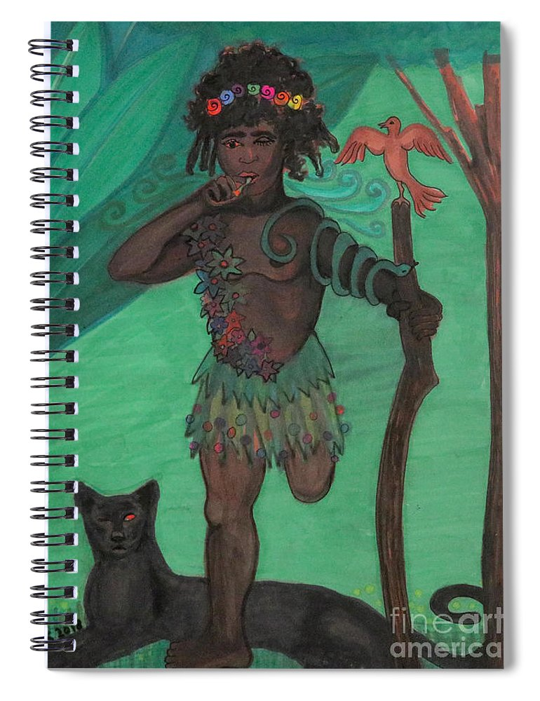 Osain Spiral Notebook featuring the drawing Osain by Gabrielle Wilson-Sealy