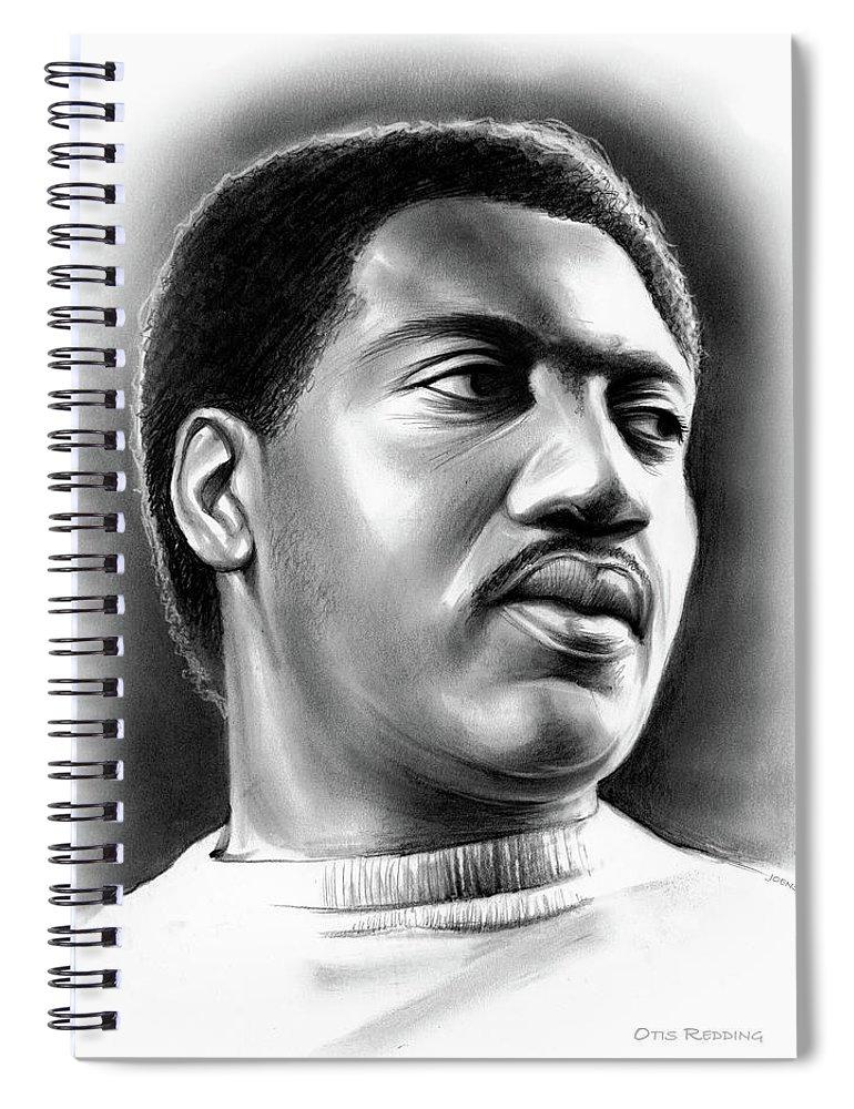 Otis Redding Spiral Notebook featuring the drawing Otis Redding by Greg Joens