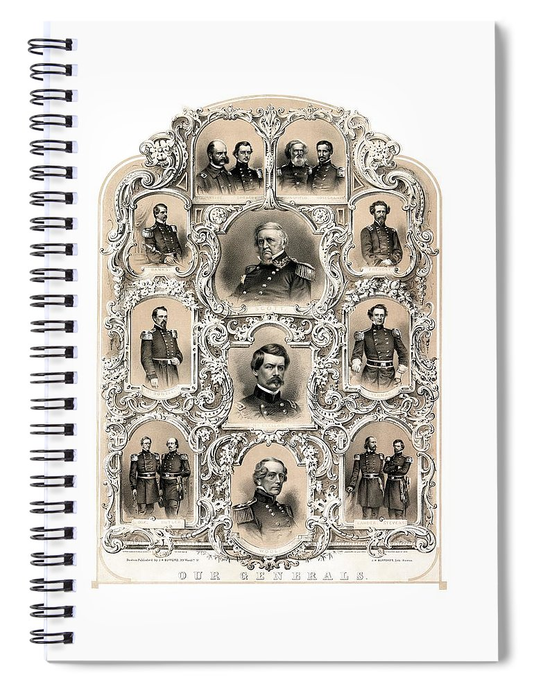 Civil War Spiral Notebook featuring the painting Our Generals -- Union Civil War by War Is Hell Store