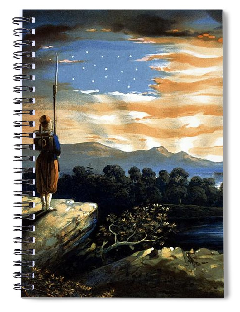 Civil War Spiral Notebook featuring the painting Our Heaven Born Banner by War Is Hell Store