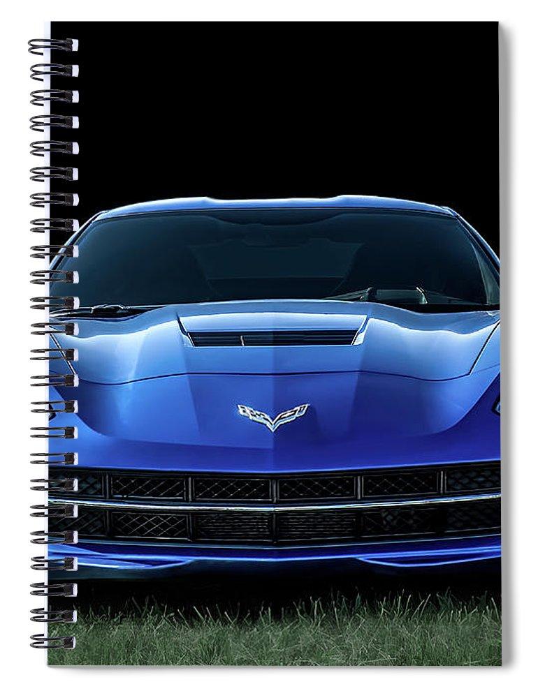 Corvette Spiral Notebook featuring the digital art Blue 2013 Corvette by Douglas Pittman