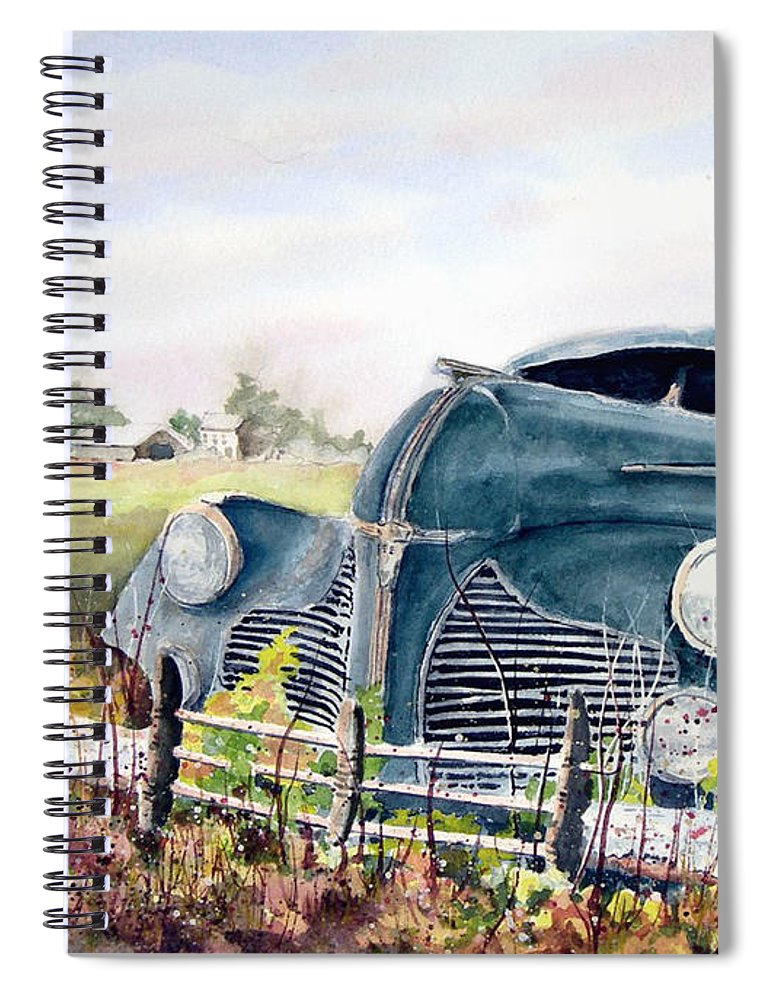 Classic Car Spiral Notebook featuring the painting Out To Pasture by Sam Sidders