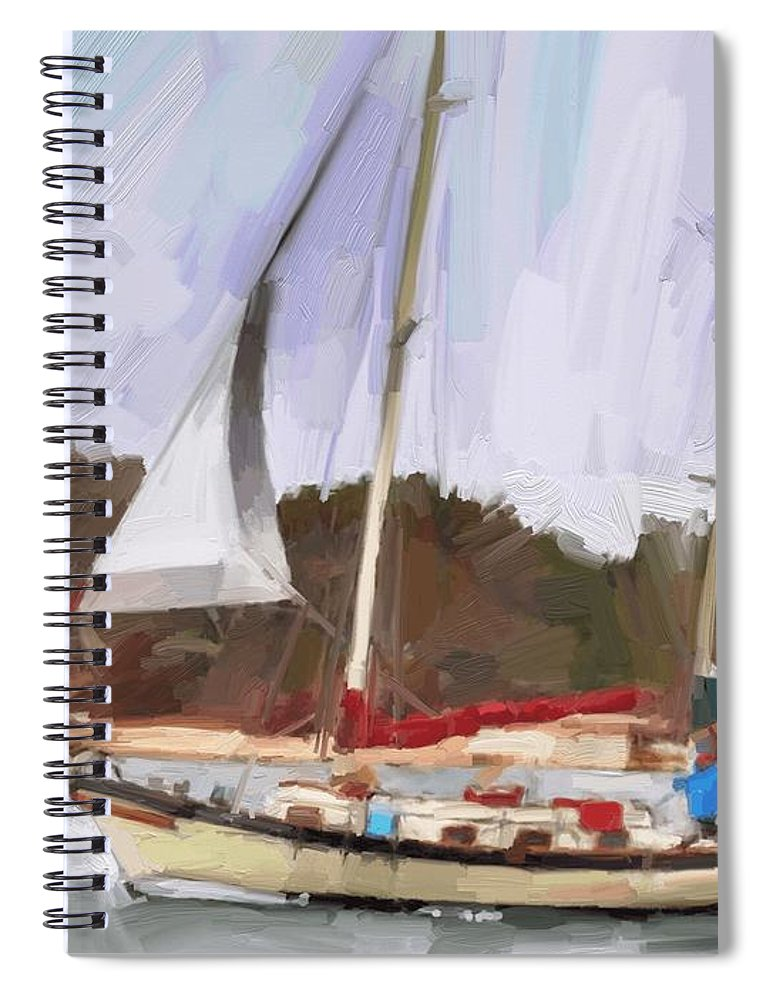 Florida Sailboat Art Spiral Notebook featuring the digital art Outbound by Scott Waters