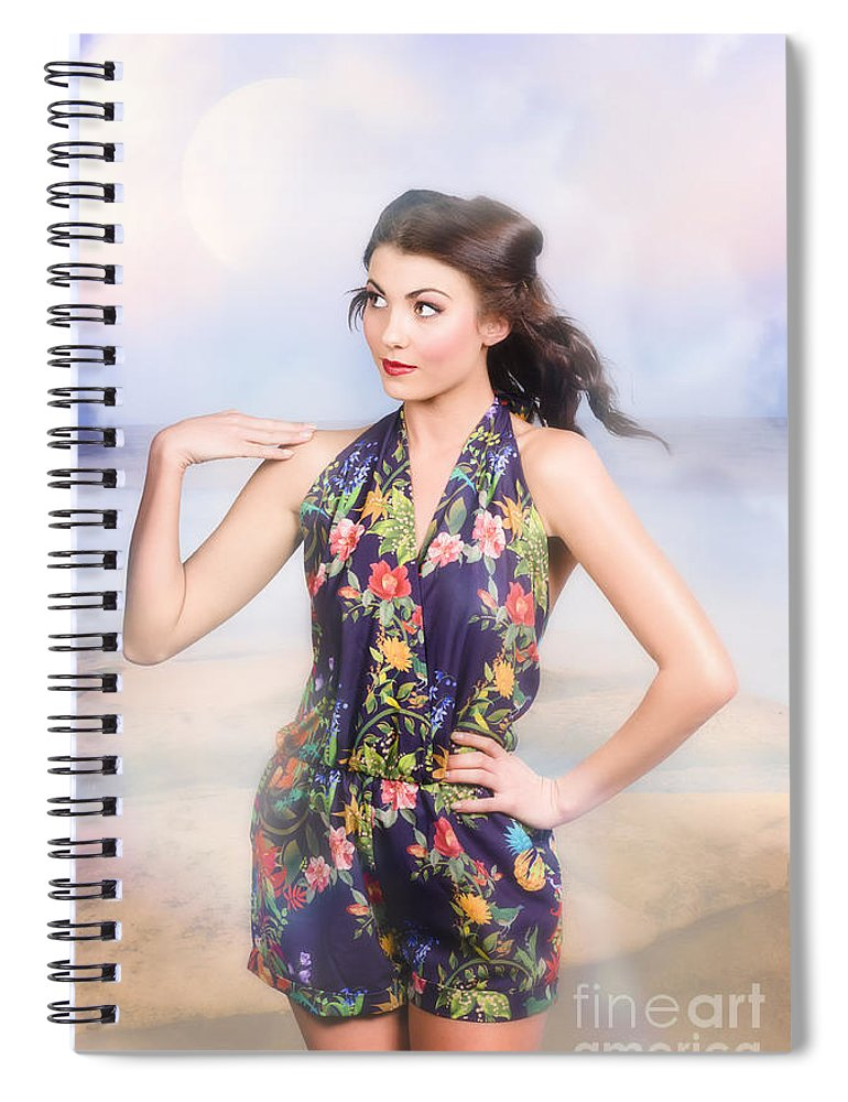 Fashion Spiral Notebook featuring the photograph Outdoor Fashion Portrait. Spring Twilight Beauty by Jorgo Photography - Wall Art Gallery
