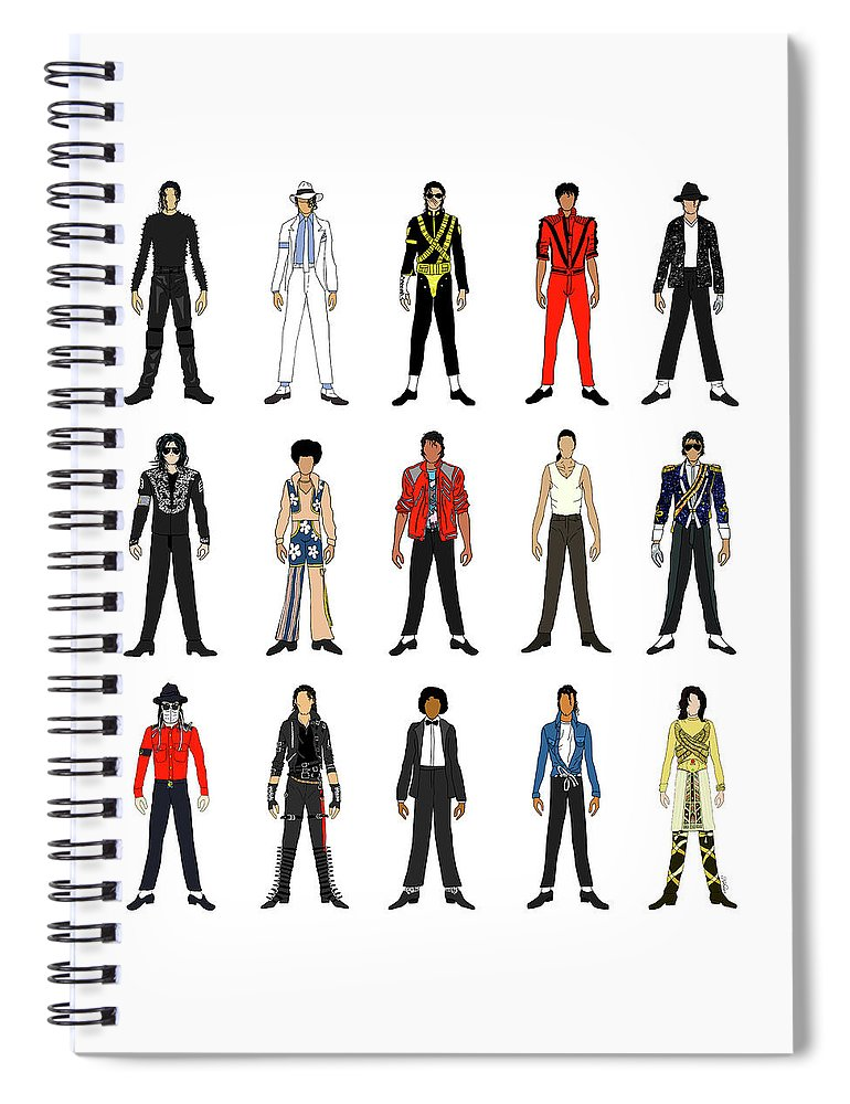 Michael Jackson Spiral Notebook featuring the digital art Outfits of Michael Jackson by Notsniw Art