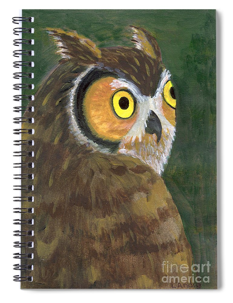 Owl Spiral Notebook featuring the painting Owl 2009 by Lilibeth Andre