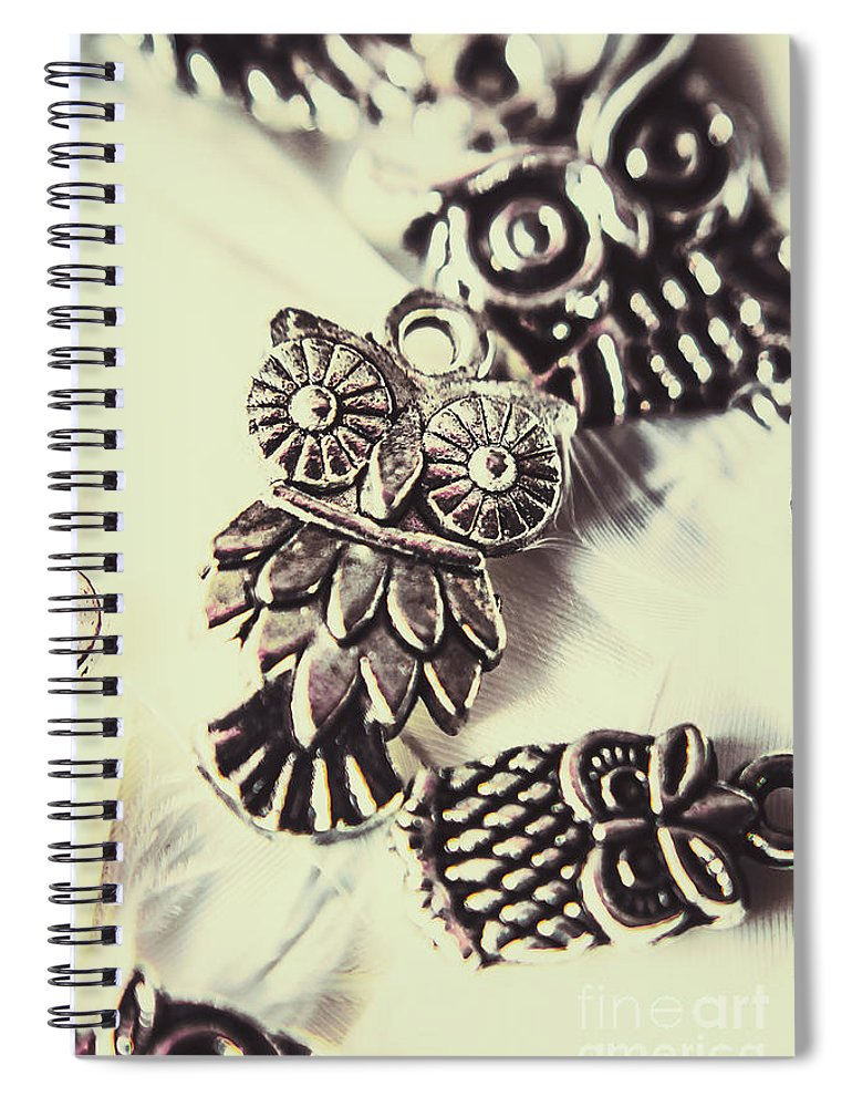 Jewelry Spiral Notebook featuring the photograph Owl Pendants. Charms Of Wisdom by Jorgo Photography - Wall Art Gallery