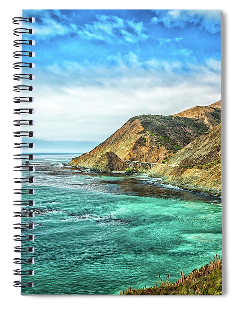All-american Road Spiral Notebook featuring the photograph Pacific Coast Highway At Big Creek Bridge by Gestalt Imagery