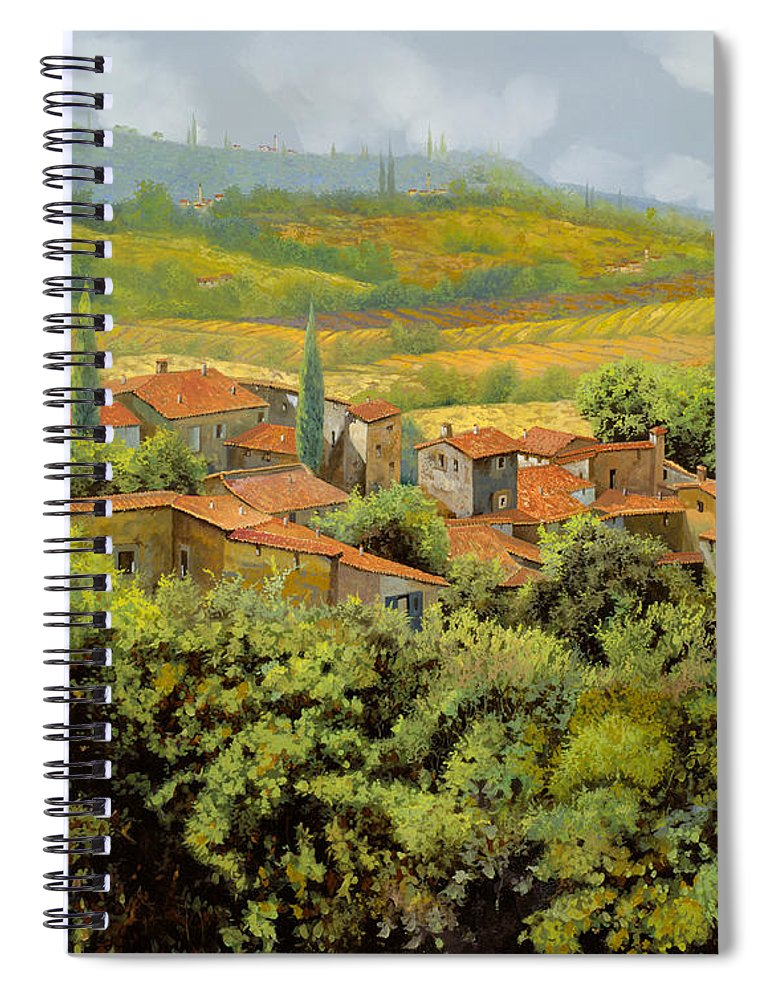 Tuscany Spiral Notebook featuring the painting Paesaggio Toscano by Guido Borelli
