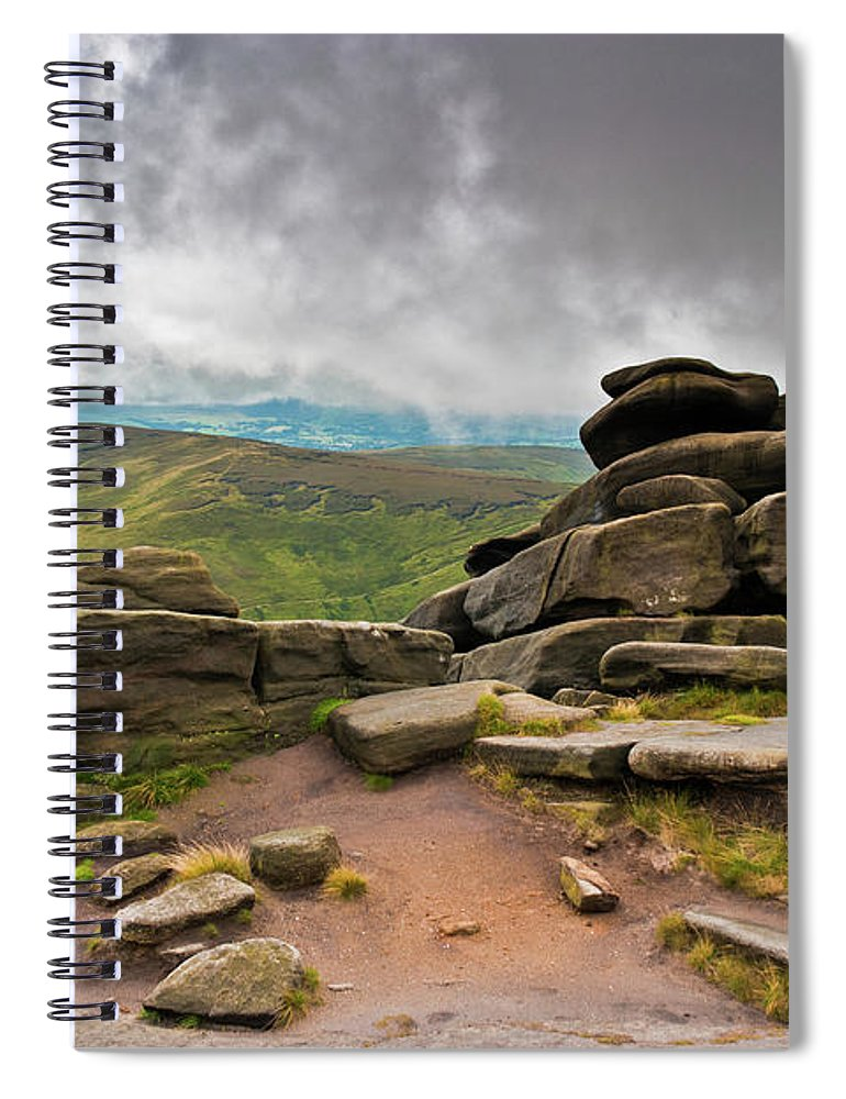 Landscape Spiral Notebook featuring the photograph Pagoda #1, Kinder Scout, Peak District, North West England by Anthony Lawlor