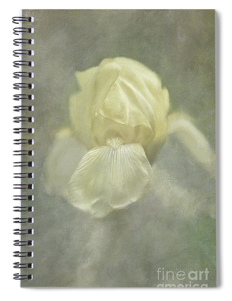 Iris Spiral Notebook featuring the digital art Pale Misty Iris by Lois Bryan