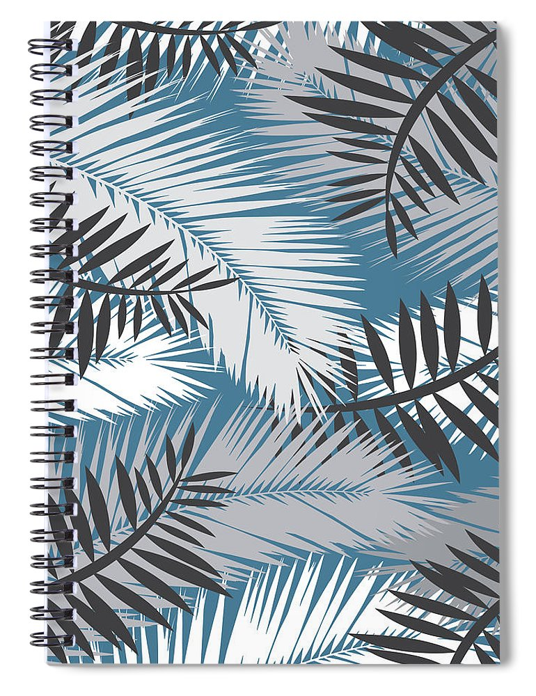 Summer Spiral Notebook featuring the digital art Palm Trees 10 by Mark Ashkenazi