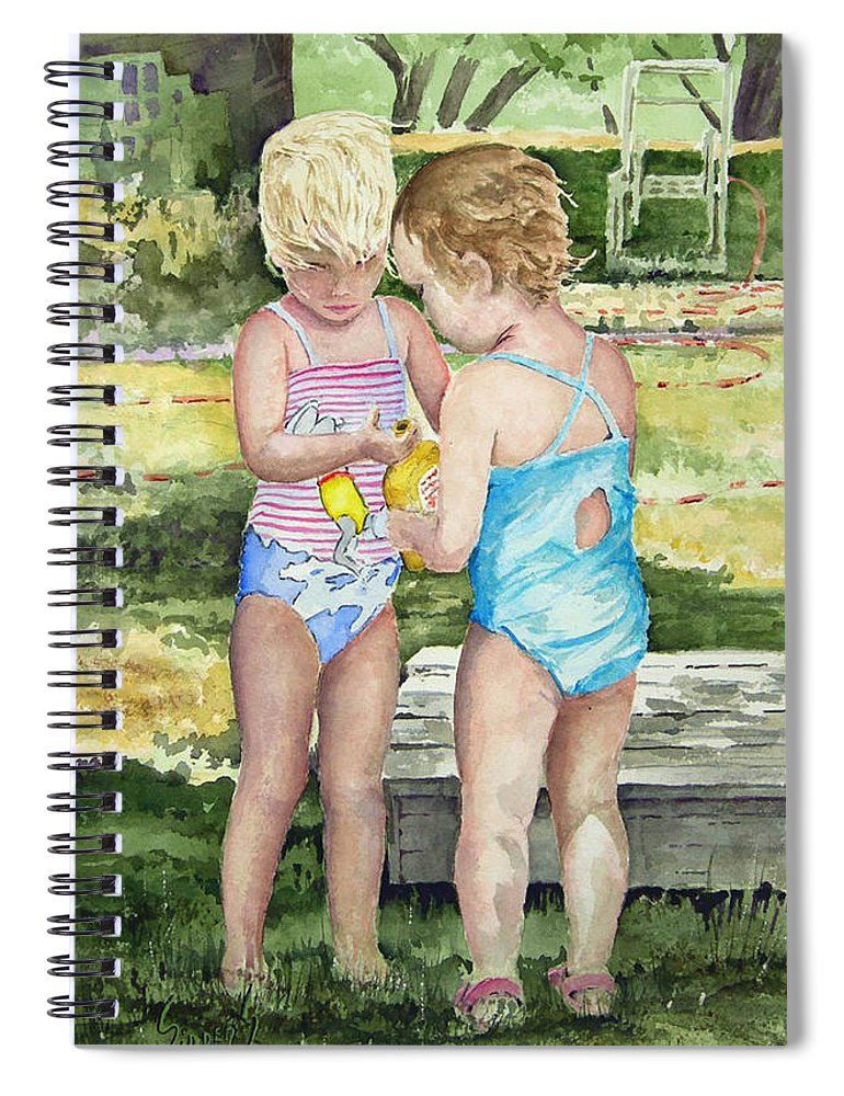 Children Spiral Notebook featuring the painting Pals Share by Sam Sidders