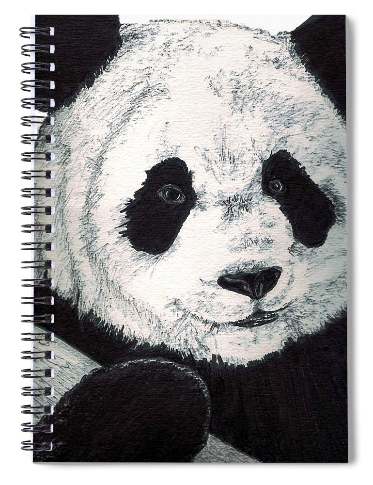 Panda Spiral Notebook featuring the painting Panda by Debra Sandstrom