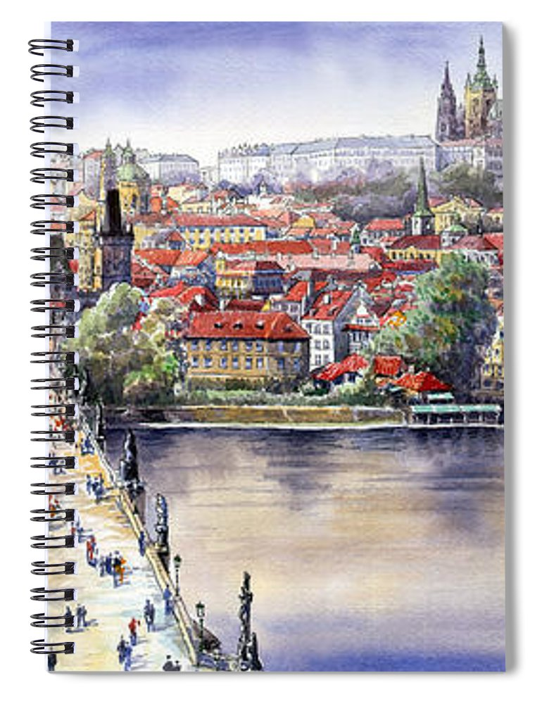 Watercolour Spiral Notebook featuring the painting Panorama with Vltava river Charles Bridge and Prague Castle St Vit by Yuriy Shevchuk