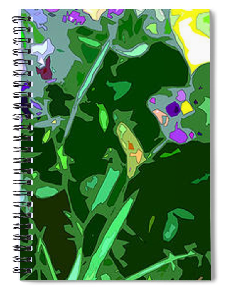 Abstract Spiral Notebook featuring the digital art Pansy Flower Garden by Linda Mears