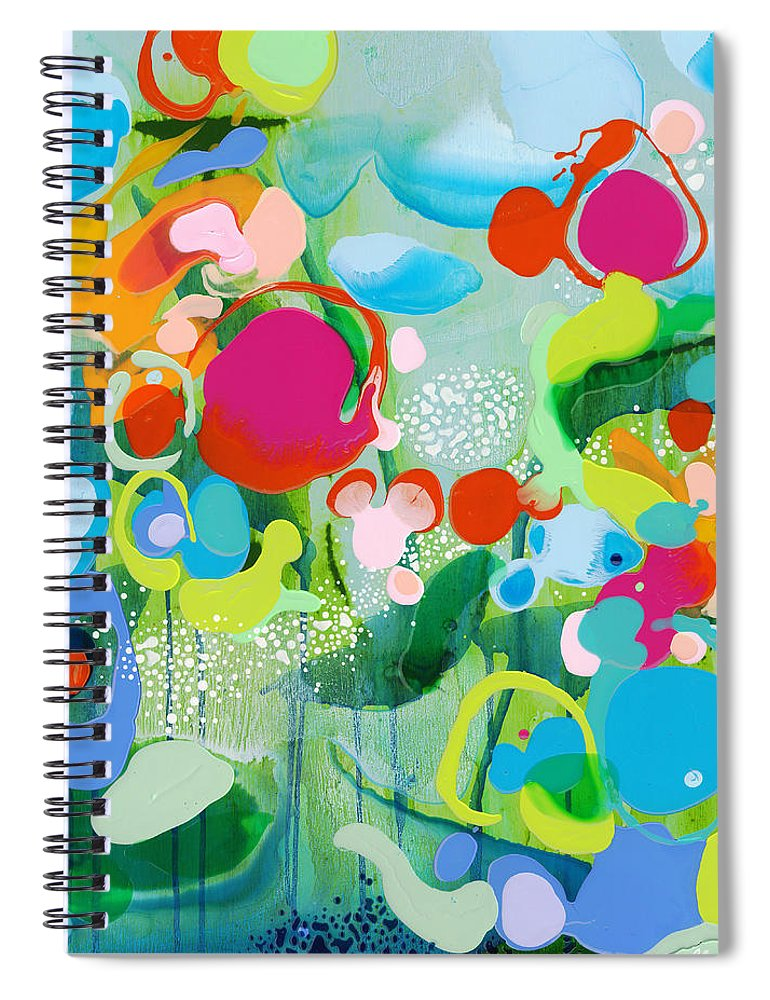 Abstract Spiral Notebook featuring the painting Paradise Outer Limits by Claire Desjardins