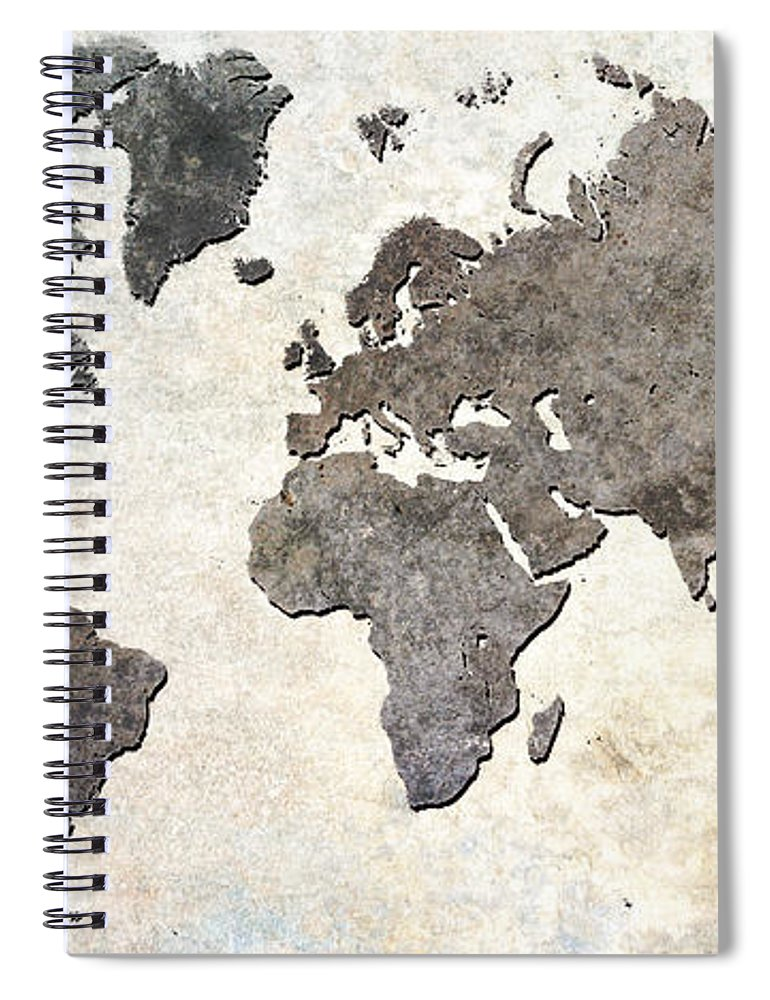 Map Spiral Notebook featuring the digital art Parchment World Map by Douglas Pittman