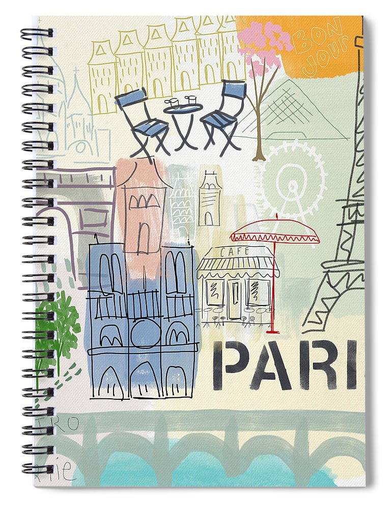 Paris Spiral Notebook featuring the painting Paris Cityscape- Art by Linda Woods by Linda Woods