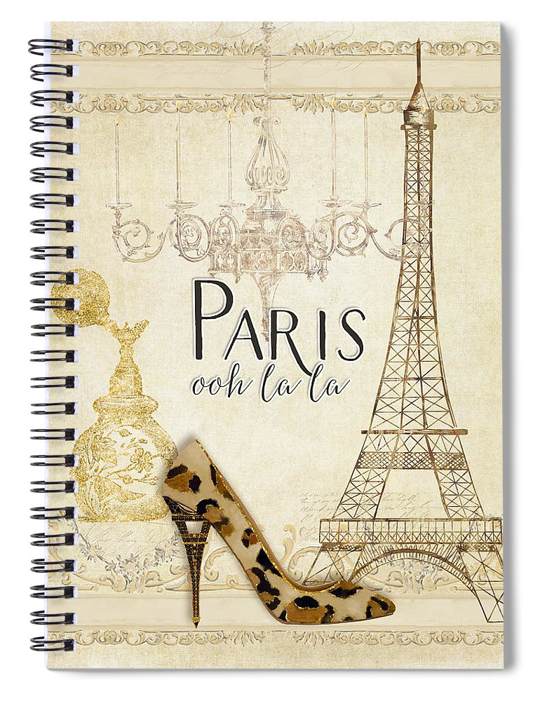 f48dbdcfef5 Fashion Spiral Notebook featuring the painting Paris - Ooh La La Fashion Eiffel  Tower Chandelier Perfume