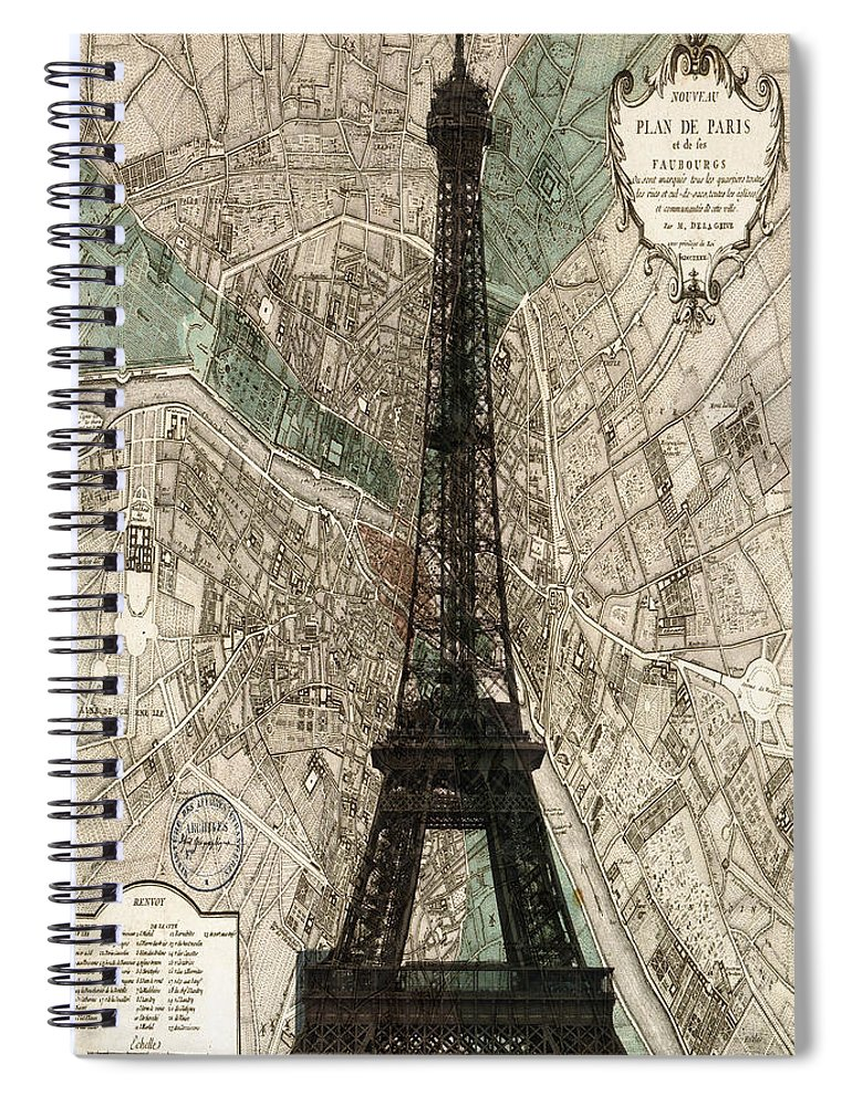 Paris Georgia Map.Paris Vintage Map And Eiffel Tower Spiral Notebook For Sale By