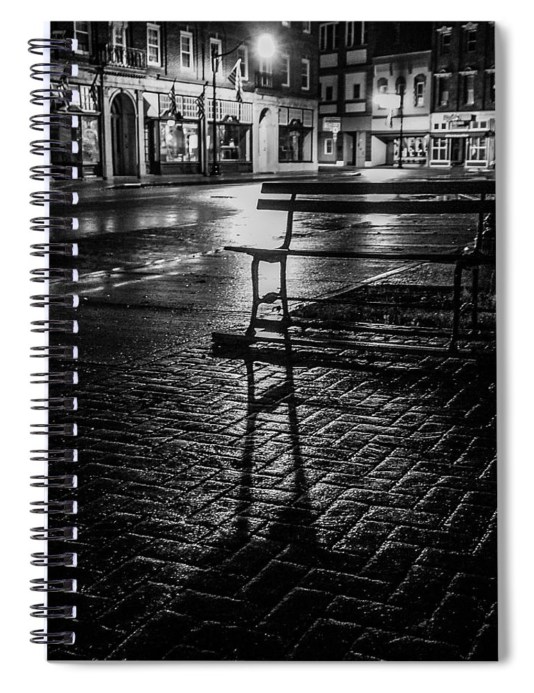 Spiral Notebook featuring the photograph Park bench on a rainy night by Kendall McKernon