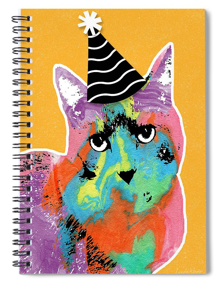 Cat Spiral Notebook featuring the mixed media Party Cat- Art By Linda Woods by Linda Woods