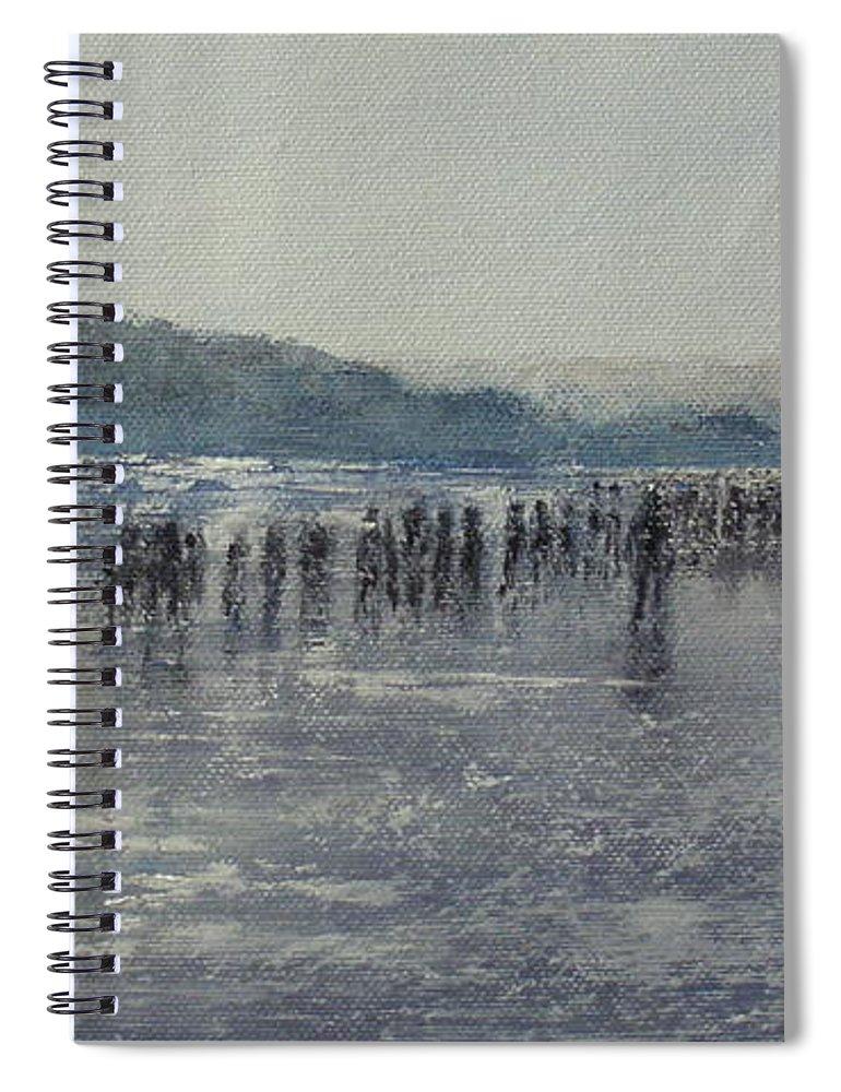 Sardinero Spiral Notebook featuring the painting Paseo Por La Playa Del Sardinero by Tomas Castano