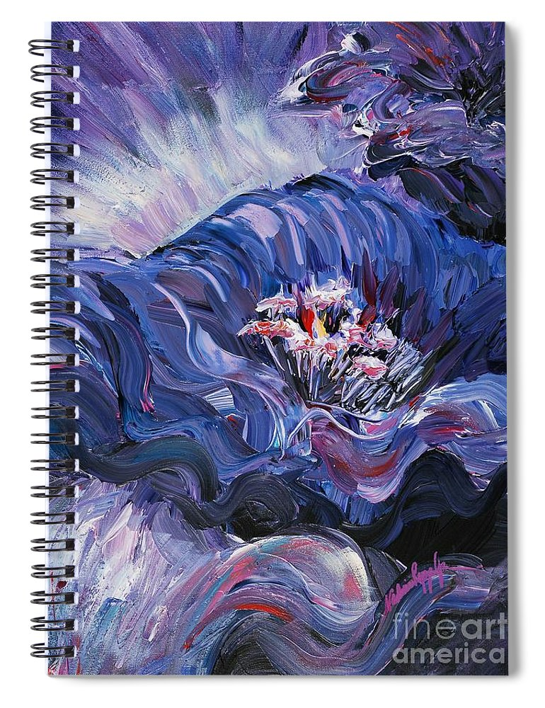 Blue Spiral Notebook featuring the painting Passion in Blue by Nadine Rippelmeyer