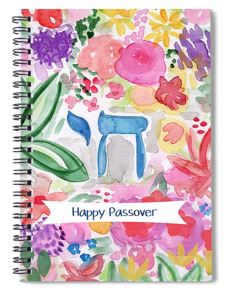 Passover Spiral Notebook featuring the mixed media Passover Chai- Art By Linda Woods by Linda Woods