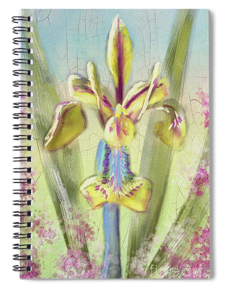 Iris Spiral Notebook featuring the digital art Pastel Iris by Lois Bryan